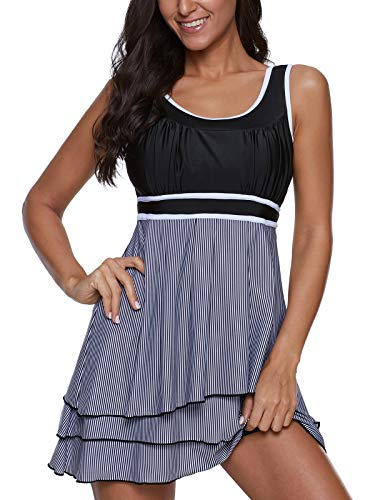 Yanekop Womens Tummy Control Swimdress Tankini Set Slimming Swimsuit with Boyshort(Layered,M)
