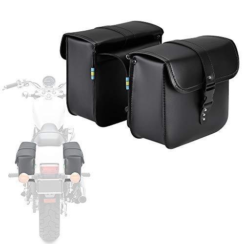 Motorcycle Saddle Bags, 2 Pack Universal PU Leather Saddlebags for Honda Shadow Suzuki Boulevard Sportster