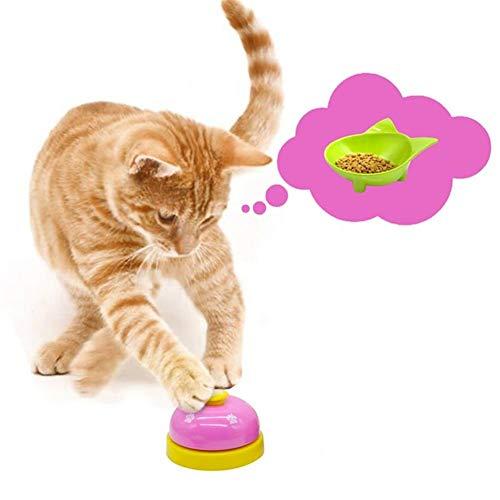 LNLW Dog Feeding Cat Ausbildung Bell-Anruf-Bell-Wecker Pet Interaktives Training Squeak Toy Tiere Kitten Spielzeug Essen Futter Erinnerung (Color : Pink)