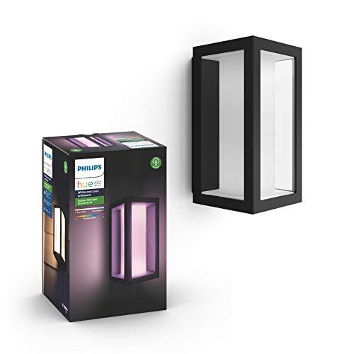 Philips Hue White and Color Ambiance LED Wandleuchte Impress (schmal), für den Aussenbereich, dimmbar, bis zu 16 Millionen Farben, steuerbar via App, kompatibel mit Amazon Alexa (Echo, Echo Dot)