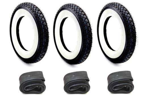 3x Weißwand Reifen Schlauch Set Kenda 3.50-10 Zoll für Vespa PX 125 150 200