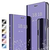 ANWEN Hülle für Samsung Galaxy S20 Fan Edition Handyhüllen,Flip Handy Hülle Cover PU+PC Schutzhülle Transluzent View Spiegel Anti-Schock Hülle mit Standfunktion für Samsung Galaxy S20 Fan Edition-Lila
