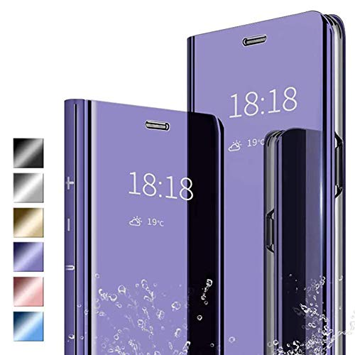 ANWEN Hülle für Samsung Galaxy S30 Ultra Handyhüllen,Flip Handy Hülle Cover PU+PC Schutzhülle Transluzent View Spiegel Anti-Schock Hülle mit Standfunktion für Samsung Galaxy S30 Ultra-Lila