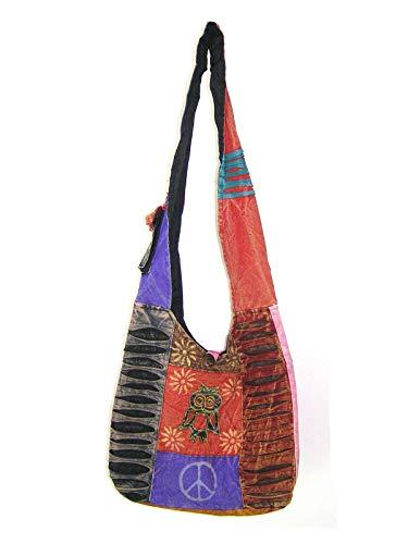 Patchwork Tasche Umhängetasche Handtasche Beuteltasche Tragetasche Schultertasche Tiermotiv Farbe Eule
