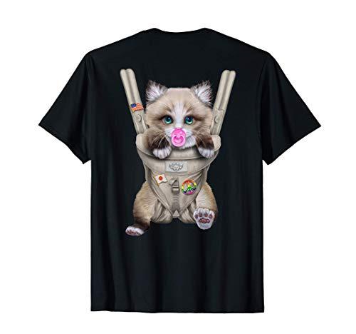 Gato ragdoll con chupete en portabebé Camiseta