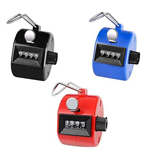 ROYAL WIND Handzähler 3er-Pack Zähler, 3 farbige 4-stellige Zähler, mechanischer Handzähler Klicker für Rudern, Menschen, Golf, Runden und Stricken