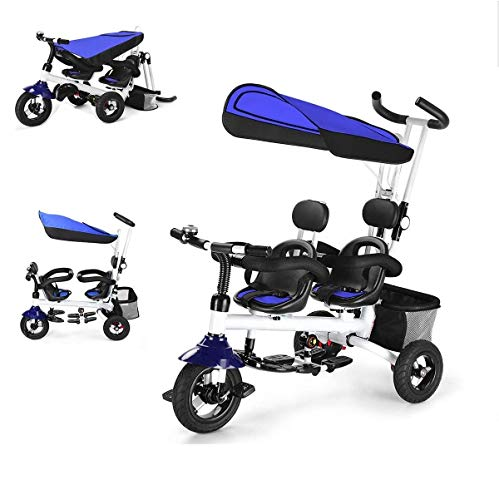 Baby Joy Tricycle, 4 in 1 Twin Stroller for Toddlers with Removable Canopy, Adjustable Push Handle, Double Brake, Rotatable Seat, Storage, Folding Baby Trike, Toddler Tricycle for 1-5 Years Old, Blue
