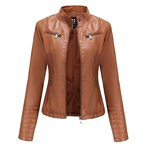Damen Kunstleder Jacke Leather Jackets Motorradjacke Bikerjacke PU Lederjacke Outwear Kurz Damenjacke Kurze Jacke für Herbst, Frühling(5 Farben),Camel,S