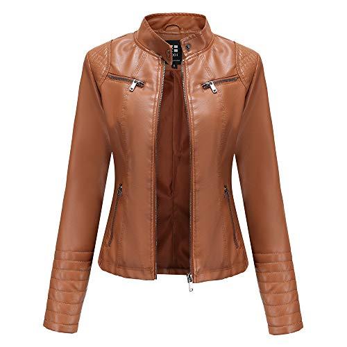 Damen Kunstleder Jacke Leather Jackets Motorradjacke Bikerjacke PU Lederjacke Outwear Kurz Damenjacke Kurze Jacke für Herbst, Frühling(5 Farben),Camel,3XL