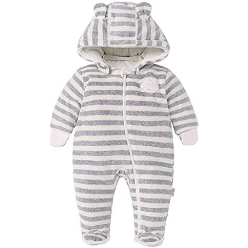 JiAmy Baby Winter Overall Mit Kapuze Strampler Mädchen Jungen Schneeanzüge Dicke Gestreifte Outfits Beige 9-12 Monate