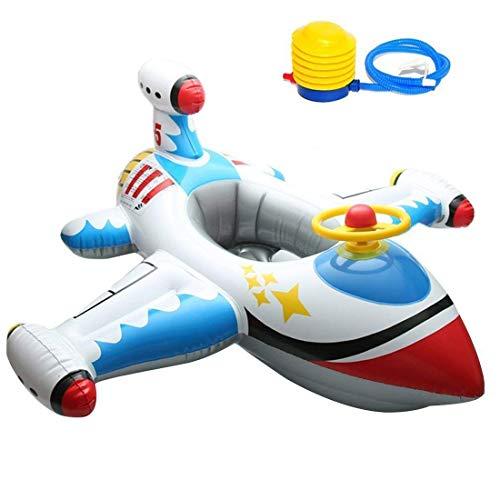 BYBO ハンドル付ベビー用飛行機型浮き輪 ベビー浮き輪 可愛い浮き輪 ボートフロート 子ども用 水泳 1~5歳 (スカイブルー)