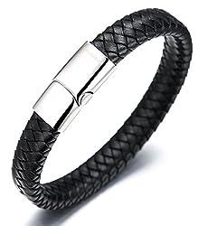 Halukakah«SOLO» :Le Bracelet de l'homme en style classique , Cuir Véritable avec les Bouttons titané et magnétique ,8.46