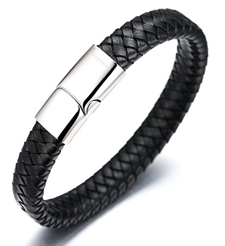 Halukakah  Solo  Men's Genuine Leather Bracelet Classic Style Titanium Clasp with Magnets 8.46'(21.5cm) with Free Giftbox