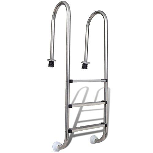 Nishore Escalera Piscinas 3 Peldaños Acero Inoxidable Durader 120cm Escalinata Escala SPA Jacuzzi 49 x 36 x 158 cm