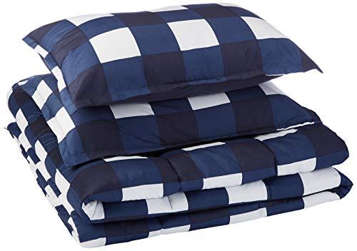 AmazonBasics Comforter Set, King, Navy Oversized Gingham, Microfiber, Ultra-Soft