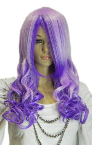 Qiyun Violet BlancMixte Longue Ondule Boucle Resistant a la Chaleur Fibre Synthetique Cheveux Complete Cosplay Anime Costume Perruque