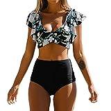 UMIPUBO Conjunto de Bikini Mujer Traje de Baño de Dos Piezas Impresión de Correa de Homb...