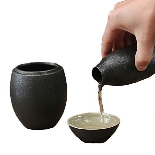 BBGSFDC Pot de thé, Sékin Japonais, Set de 3 pièces Ovale Black Glaze Texture Coupes de céramique, Artisanat Verres à vin, for Froid/Chaud/Shochu/Thé Meilleur Cadeau for la Famille et Les Amis