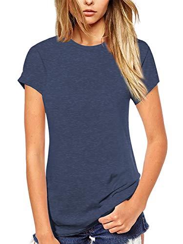 Beluring Summer Tops Womens Short Sleeve Plain T-Shirts Blouse(XXL,Navy Blue)