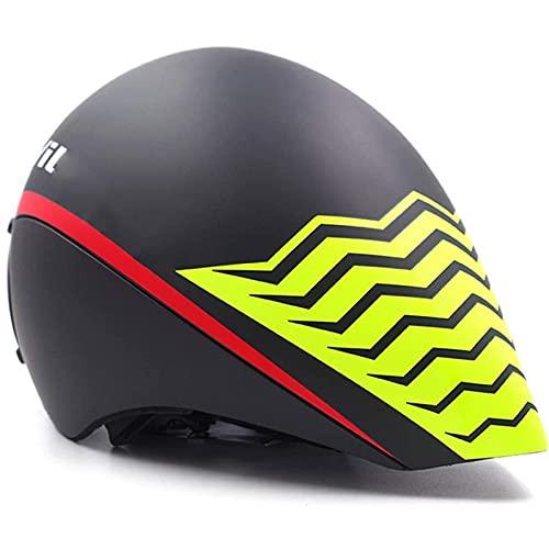 YTBLF Casco da Triathlon con Occhiali Magnetici, Visiera Rimovibile per Casco da Bici TT, 4 Prese d'Aria, Cronometro per Ciclismo per Uomo Donna, 55-61 Cm