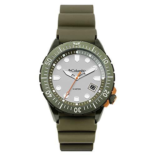 Columbia Pacific Outlander Edelstahl-Quarz-Uhr mit Silikonband, grün, 22 (Modell: CSC04-004)