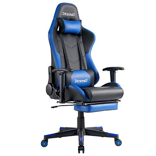 DESINO Gaming Chair Racing Style High Back Computer Chair Swivel Ergonomic Executive Office Leather Chair with Footrest and Adjustable Armrests (Blue) blue chair gaming