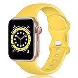 TopPerfekt Correa de Silicona Compatible con Apple Watch Correa de 38 40 42 44 mm, Correas de Repuesto de Silicona para iWatch Series 6 5 4 3 2 1 SE (42/44mm-S/M, Amarillo)