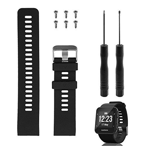 "Rukoy Reemplazo de banda Garmin Forerunner 35, correa de reloj de repuesto de silicona suave para Garmin Forerunner 35 reloj inteligente, ajuste de 5.56""-9.96"" (139mm-199mm) mu?eca (negro)"