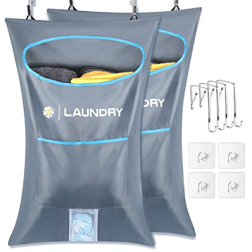 Lemecima 2 pezzi borsa portabiancheria da appendere alla porta, raccoglitore per biancheria con ganci per porta in acciaio inossidabile, per dormitorio bagno camera da letto, grigio