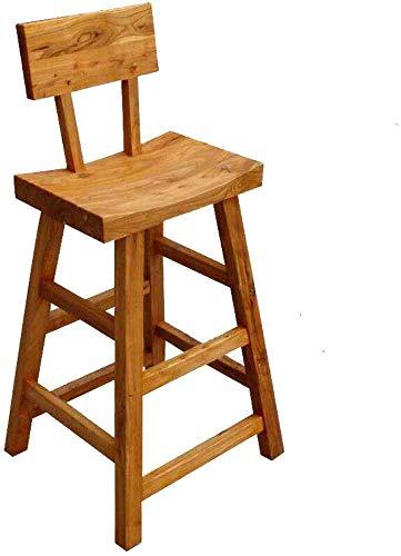 Taburete de madera maciza DNSJB con respaldo alto, taburete alto, taburete de café, taburete retro para escalones, taburetes de escalera de registro portátil
