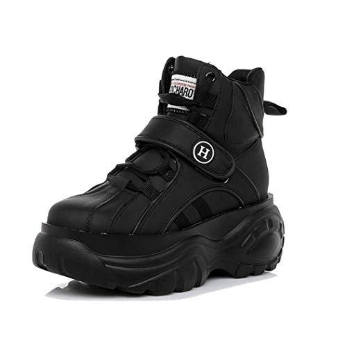 Dames Hoge Creepers Schoenen Lente Mode Platform Sneakers Ronde Neus Veters Verhoogde Interne Enkellaarzen Comfort Casual Sneakers Met Sleehak