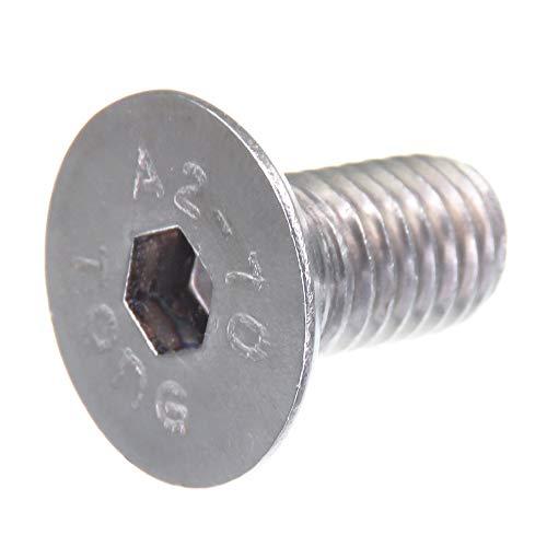 Tornillo avellanado SECCARO M10 x 20 mm, acero inoxidable V2A VA A2, DIN 7991 / ISO 10642, zócalo hexagonal, 20 piezas
