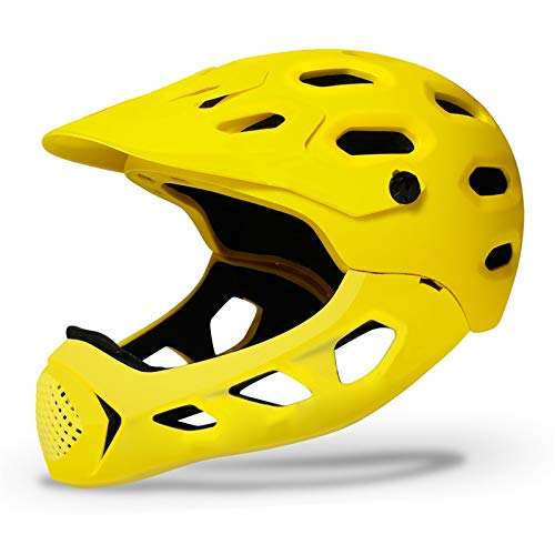JHHXW Cycling Helmet, Removable Protective Chin Bar, Mountain Bike Full Face Extreme Sports Safety Helmet, M/L (56-62cm) (Color : Yellow)