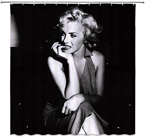 MMPTn Marilyn Monroe Duschvorhang, klassisch, Retro-Vintage-Design, Polyester, wasserdicht, 180,9 x 180,3 cm, inkl. 12 Kunststoffhaken