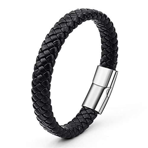 LJSLYJ PU Leather Bracelets Men Jewelry Stainless Steel Clasp Punk Bracelets Jewelry