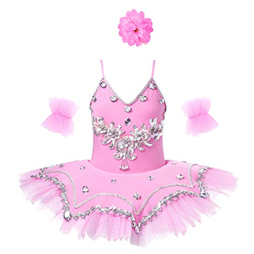 Mufeng Kids Girls 3PCS Sleeveless Rhinestone Sequins Ballet Leotard Tutu Dress with Arm Sleeves Hair Clip Set Pink 5-6 Years A