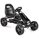 Costzon Pedal Go Kart, 4 Wheel Powered Ride on Car for Kids, Outdoor Indoor Pedal on Foot Racer Toys...