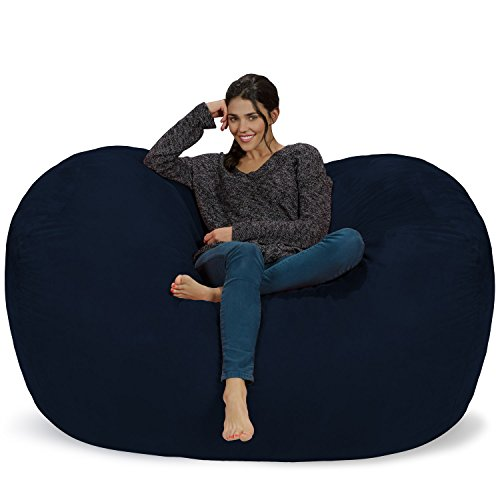 Chill Sack Bean Bag Chair: Huge 6' Memory Foam Furniture Bag and Large Lounger - Big Sofa with Soft Micro Fiber Cover - Navy