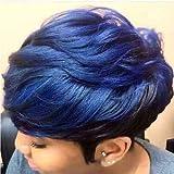 Short Ombre Hair Wigs For Black Women Short Pixie Cuts Wigs For Black Women Short Straight Black Ladies Wigs Synthetic Short Wigs For Black Women African American Women Wigs (FCHW-XP-sw911T)