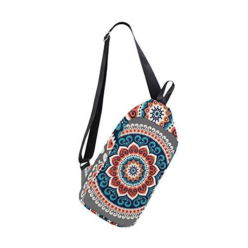 EZIOLY Mochila étnica Hippie Henna Mandala Hombro Sling Chest Crossbody Bag Viaje Senderismo Daypack para Hombres Mujeres