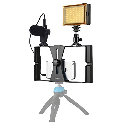 HYwot 3 en 1 Vlogging Transmisión en Vivo LED Selfie Light Smartphone Rig Kits de Equipos con micrófono + Cabeza de trípode de Zapato frío