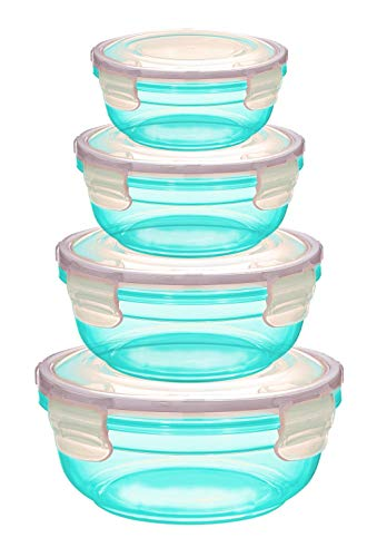 Grizzly Frischhaltedosen Set - Vorratsdosen mit Deckel 100% Luft-und Wasserdicht Rund Petrol