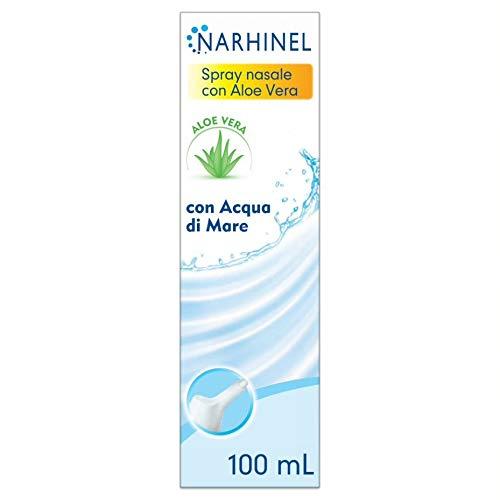 NARHINEL Spray Nasale con Aloe Vera, Soluzione Isotonica di Acqua di Mare (0,9% di Sali) Senza Conservanti Indicata in Caso di Naso Chiuso per Umidificare il Muco, Facilitandone la Rimozione, 100 ml
