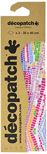 Decopatch Papier No. 506 (bunt Mosaik, 395 x 298 mm) 3er Pack
