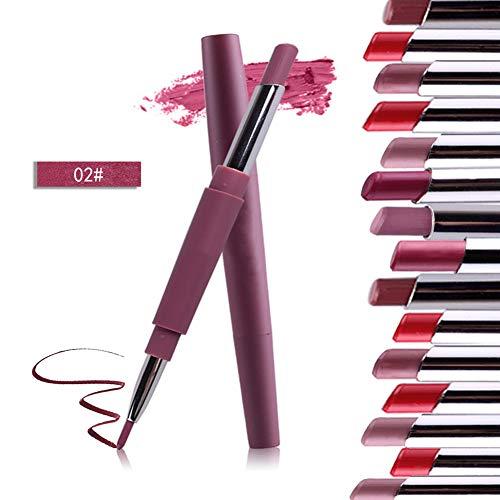 Xiton 1PC Rouge à Lèvres Mat rouge a levre Waterproof Longue Tenue Rouge a Levre Mate Double-Fin Lining Durable imperméable Lip Liner Stick Pencil(02)