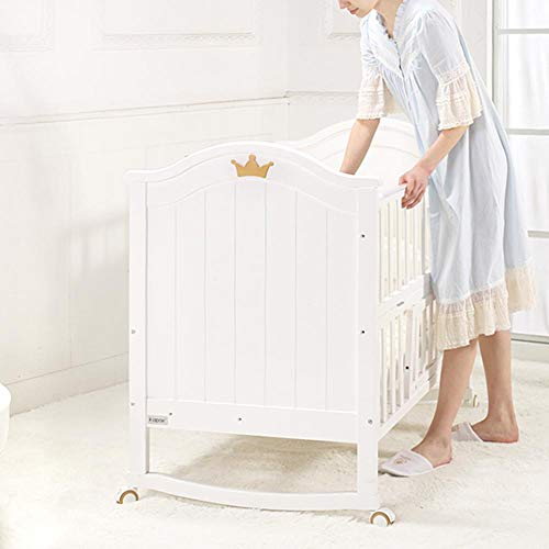 Ausla Kinderbett aus Holz – 3-in-1 umwandelbares Babybett, Kleinkindbett mit Roller, hohe Schutzleisten, 3 Gänge,...