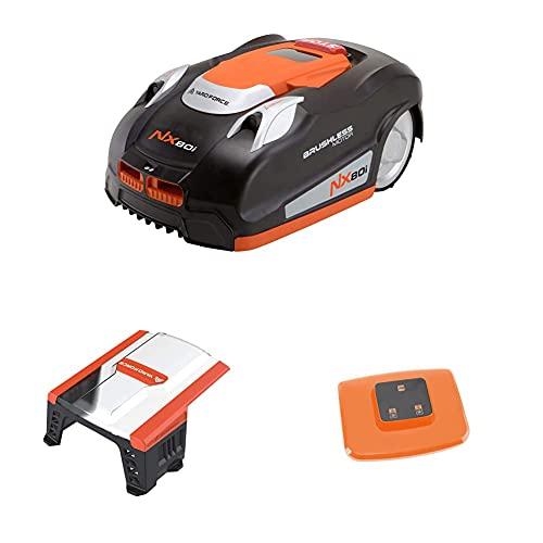 YARD FORCE Mähroboter NX80i mit Garage - bis zu 800 qm, Selbstfahrender Rasenmäher Roboter mit WLAN-Verbindung, App-Steuerung, iRadar Ultraschallsensor, Kantenschneide-Funktion, LCD-Bedienfeld