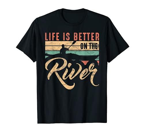 Divertido Remo Canoa Kajak La vida es mejor en el río Camiseta