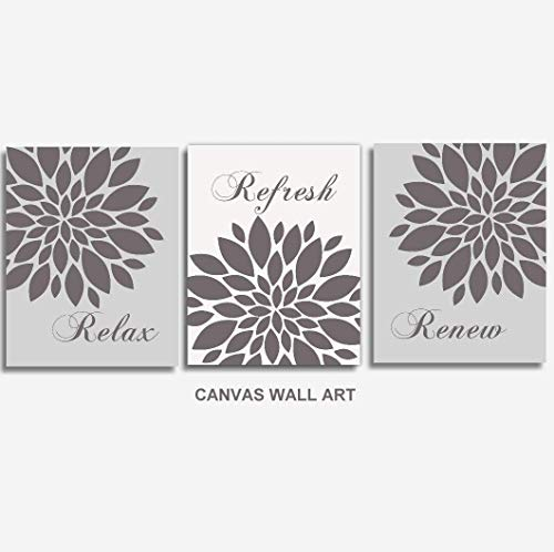Relax Refresh Renew CANVAS Wall Art - Gray, Bathroom Decor, Set of 3