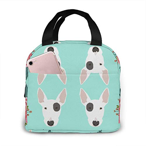 Bull Terrier Floral Flowers Personalized Design Insulated Lunch Bag, Big Capacity Lunch Cooler Tote Bag for Outdoor Picnic